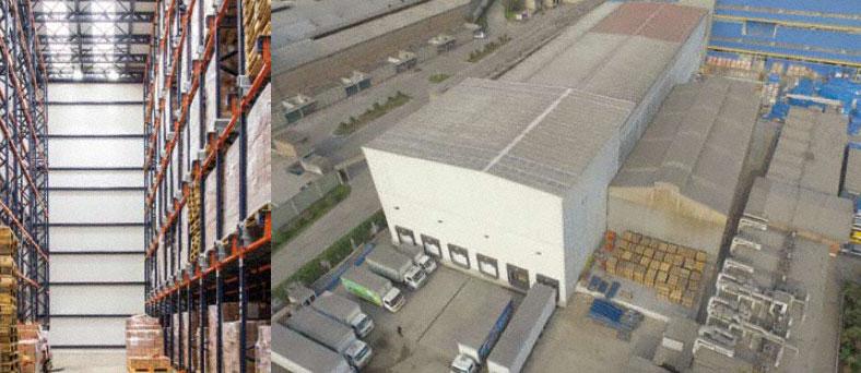 Close up of the Mediafarma warehouse