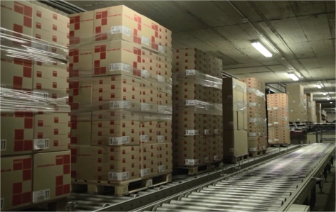 Continuous flow of goods using conveyor systems for pallets