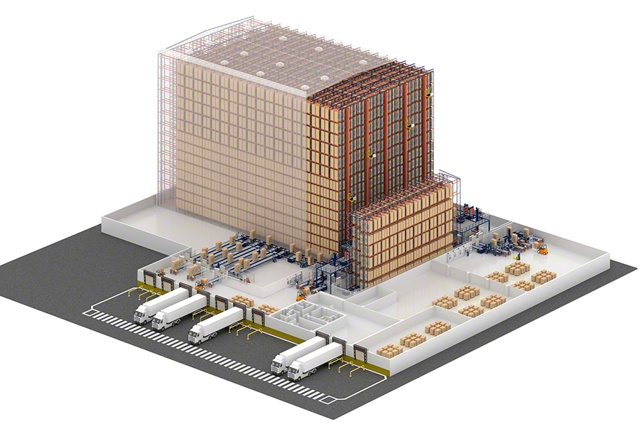 Automated clad-rack warehouse