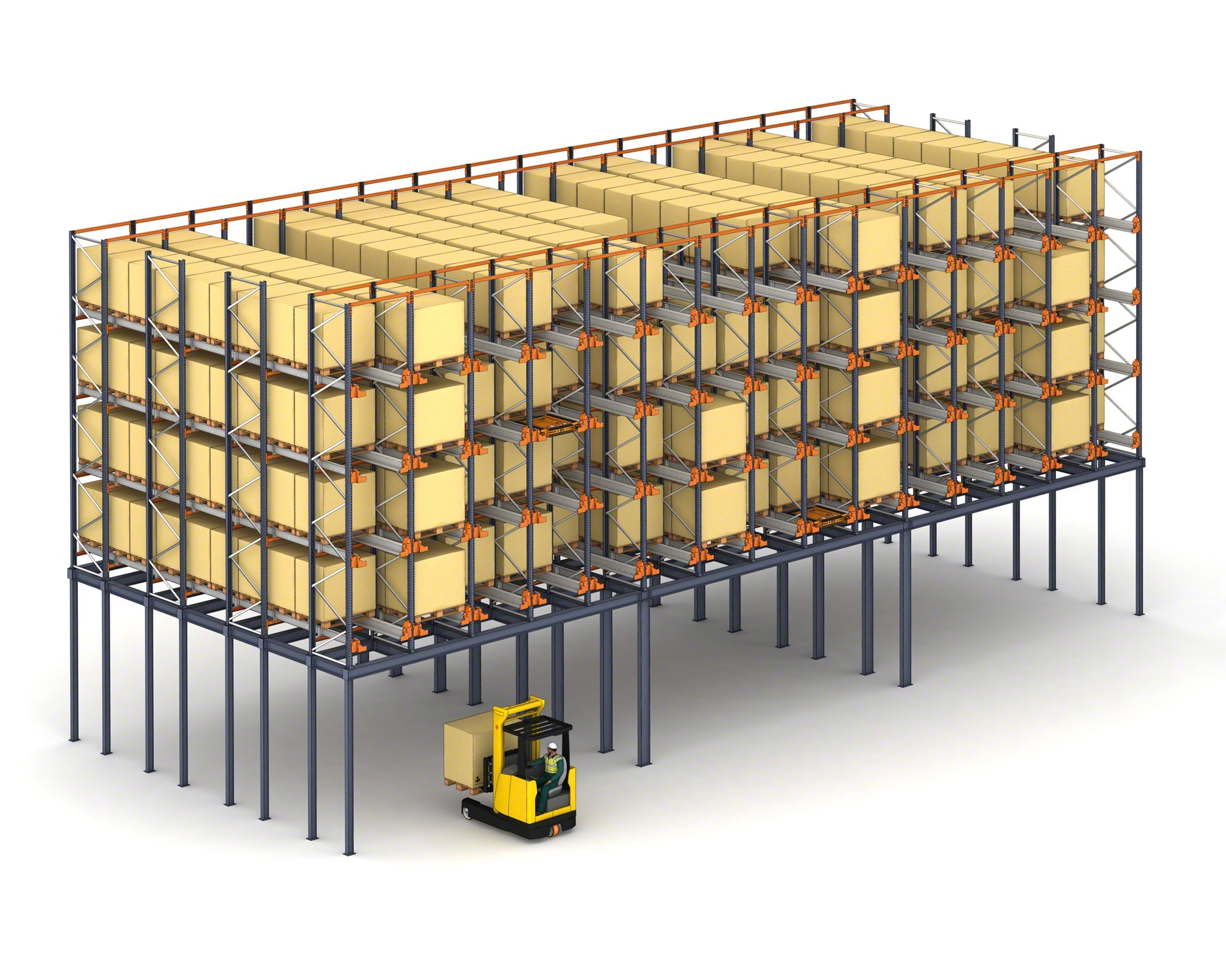 In warehouses with limited space, the Pallet Shuttle system can be installed on a mezzanine floor to maximise the surface
