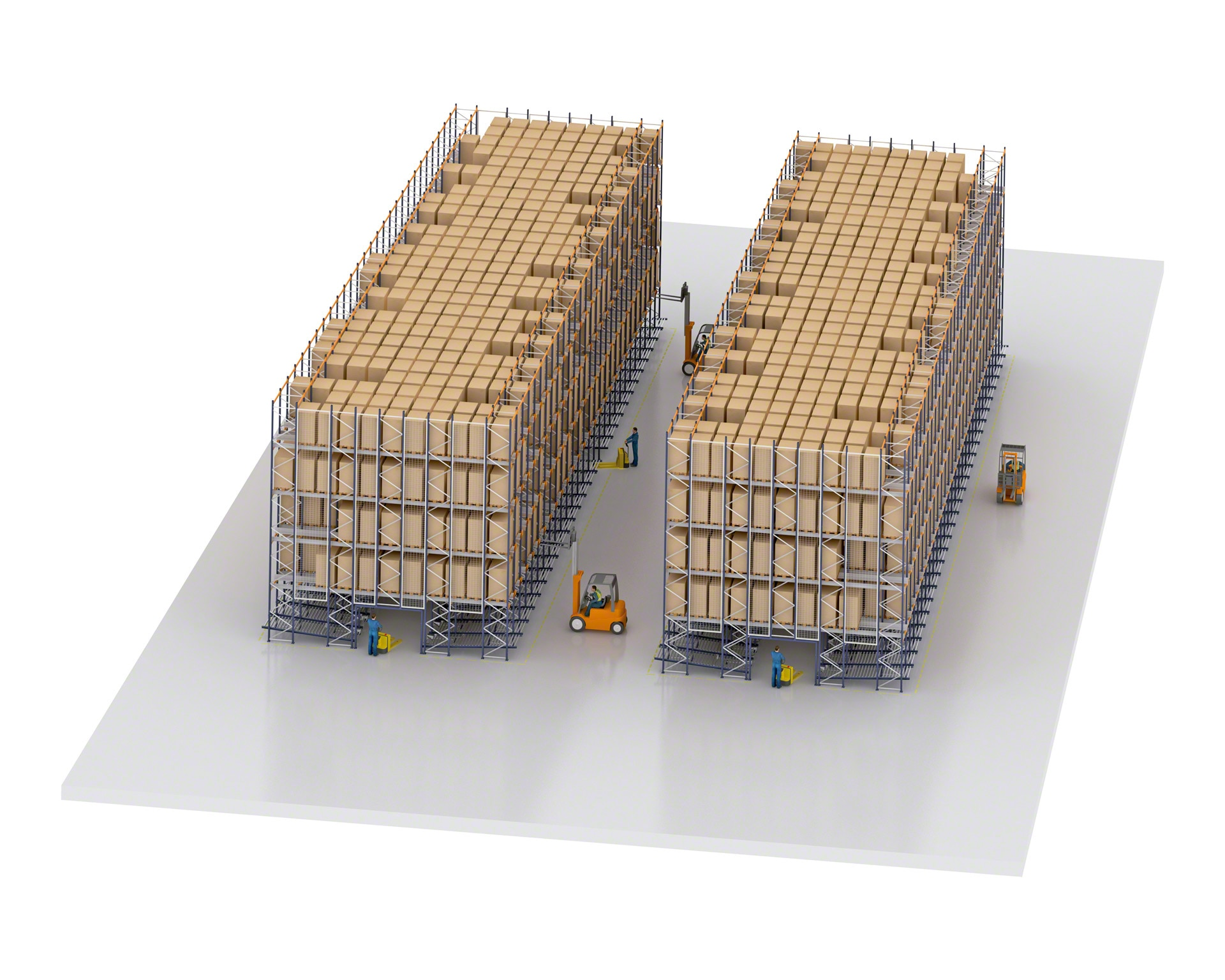In high rotation warehouses with Pallet Shuttle, part of the system is reserved for live storage racks for picking